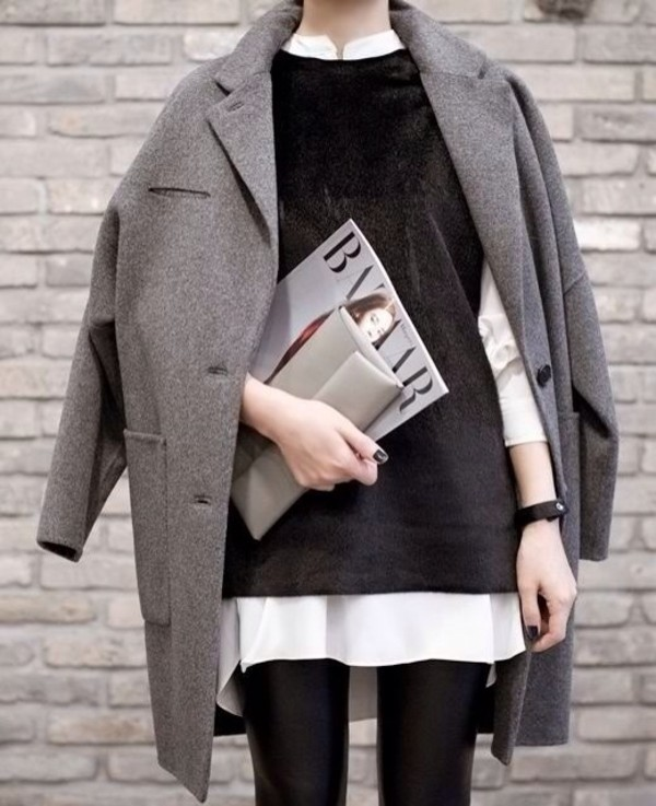 coat grey winter coat oversized longline coat lapel black grey coat grey oversized coat