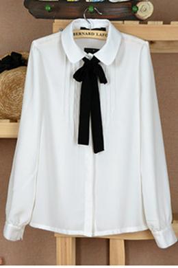 Clothing | Blouses/Shirts | Pussy Bow Peter Pan Collar Shirt | Rose & Pose