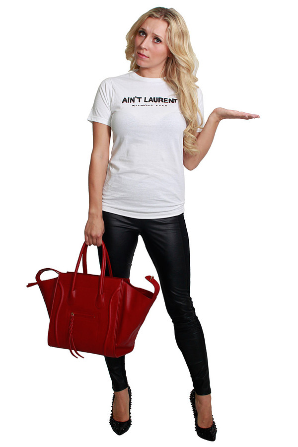 t-shirt ysl white t-shirt blogger musthave onehoneyboutique aint laurent without yves aint laurent