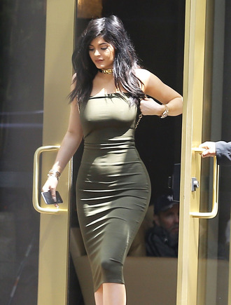 dress olive green kylie jenner top bottom skirt tube dress bodycon dress all military green outfit