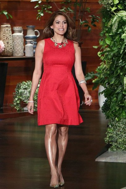 eva mendes red dress dress