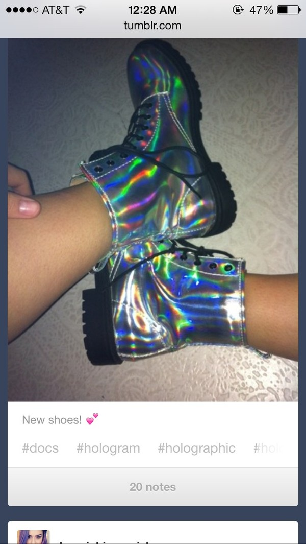 shoes holographic holographic holographic shoes DrMartens ankle boots