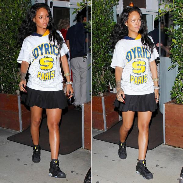 shirt rihanna t-shirt skirt shoes