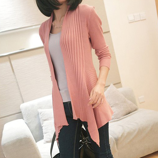 autumn women's medium long elastic sweater cardigan rib knitting long sleeve sweater cape coat-inSweaters from Apparel & Accessories on Aliexpress.com