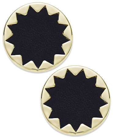 House of Harlow Earrings, Gold-Tone and Black Leather Sunburst Button Post Earrings - Fashion Jewelry - Jewelry & Watches - Macy's