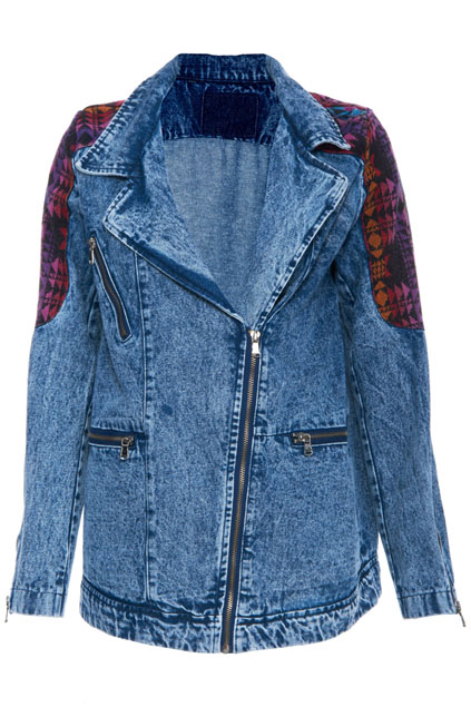 ROMWE | ROMWE Ethnic Seamed Long-sleeved Denim Cowboy Jacket, The Latest Street Fashion