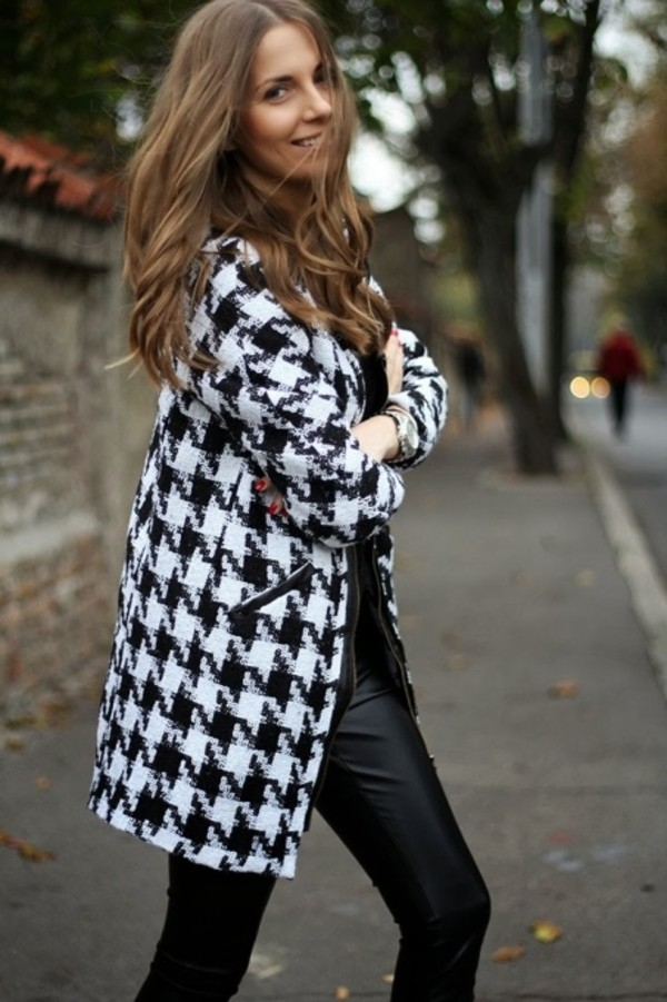 coat sheinside aliexpress houndstooth houndstooth black and white