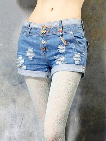 New Look Holes Denim Shorts   Choies