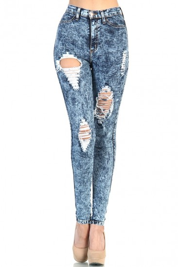 LoveMelrose.com From Harry & Molly | Destroyed High waisted  Vibrant M.I.U