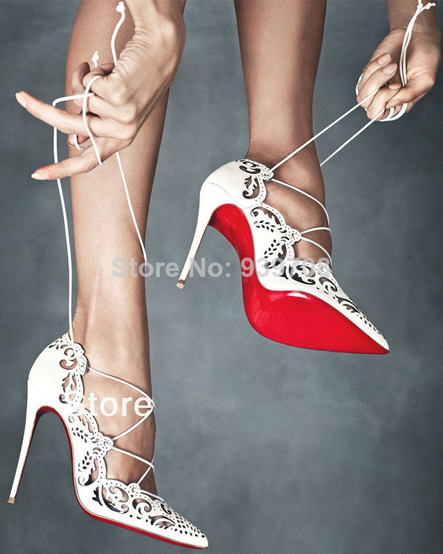 New 2014 Laser Pointed Toe Lace Up Women Pumps Impera Rihanna Red Bottom Sandals Shoes Woman High Heels Women Motorcycle Boots-in Boots from Shoes on Aliexpress.com