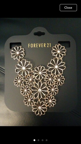 jewels forever 21 necklace gold necklace floral gold jewelry gold necklace