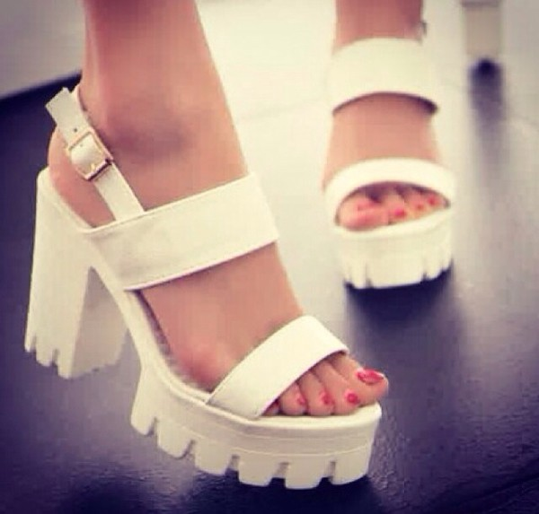 shoes white chunky sole
