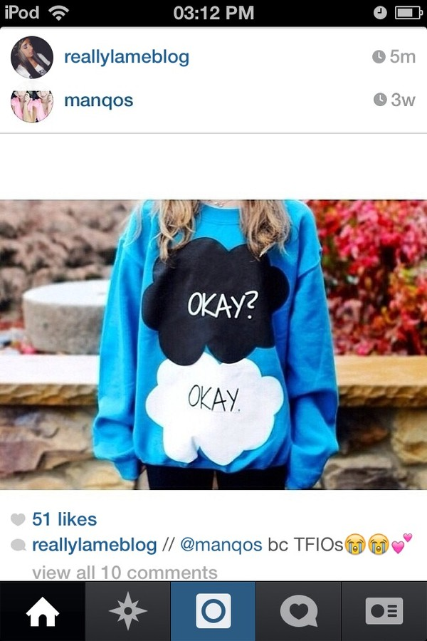 sweater the fault in our stars john green blue the fault in our stars sweatshirt