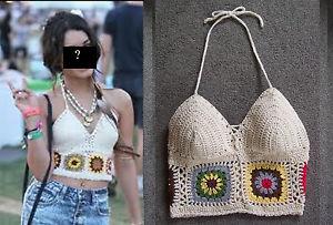 New Med Vanessa Granny Square Crochet Hippie Halter Top from A Hudgens Pattern | eBay
