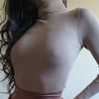 sweater turtleneck turtleneck sweater taupe taupe turtleneck ribbed turtleneck tan beige nude beige turtleneck grey sweater shirt caramel brown