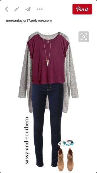 blouse clothes burgundy top grey cardigan brown boots cardigan jeans shoes jewels pinterest
