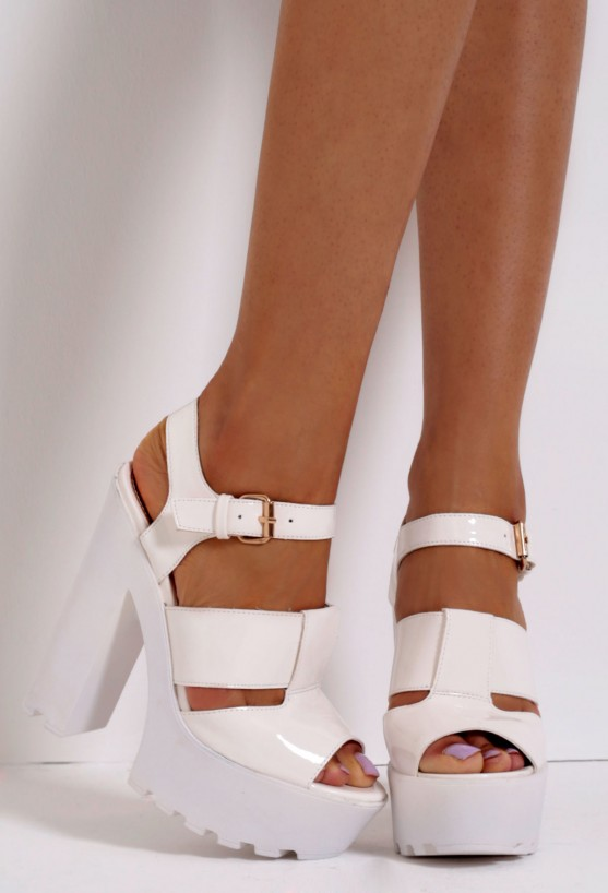 Latte White Patent Shine Strappy Platform Tractor Sole Shoes | Pink Boutique