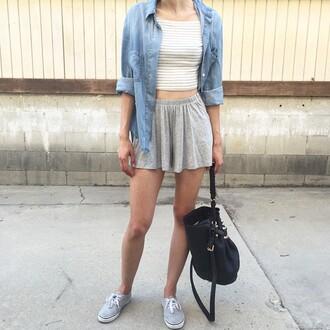 shorts skorts grey grey shorts gray shorts gray skort grey skort crop tops stripes striped crop top top denim chambray chambray shirt jacket