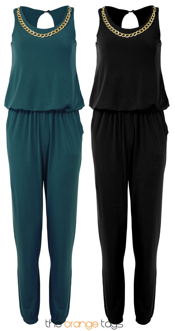 dress jumpsuit romper necklace sleeveless ruched toga top hareem teal black golden chain smart elegant chic onesie
