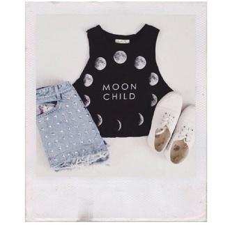 moon women's girl boho hippie moon child crop top