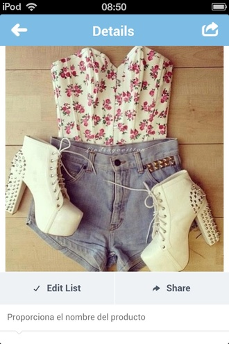 tank top cute shoes floral floral tank top lace shorts pink and white strapless