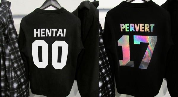 shirt sweatshirt hentai pervert streetwear urban urban streetwear t-shirt t-shirt jersey 00 metallic blouse kawaii sweater jacket