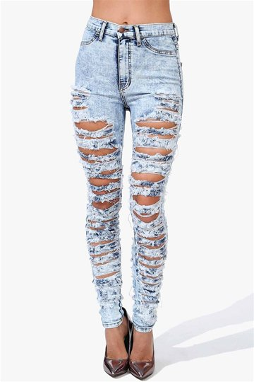 Seriously Torn Skinny Jeans in Light Blue on Wanelo