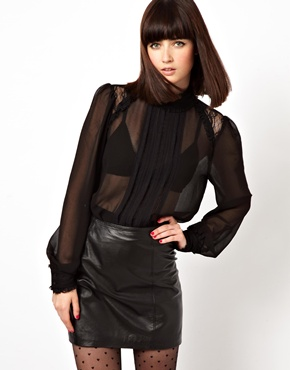 ASOS | ASOS Top with High Neck and Insert Lace Ruffle at ASOS