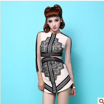 Aliexpress.com : Buy Free Shipping Eyelash lace long sleeved dress stitching PU from Reliable lace white dress suppliers on ED FASHION