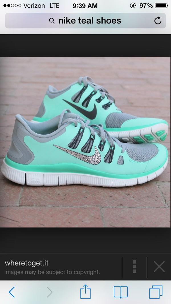 shoes nike free run mint rhinestones