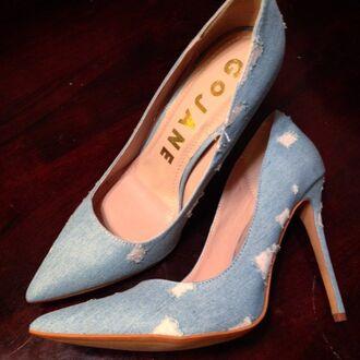 shoes gojane denim denim hotpants high heels low heels jeans rippy denim jeans ripped dress ripped jeans