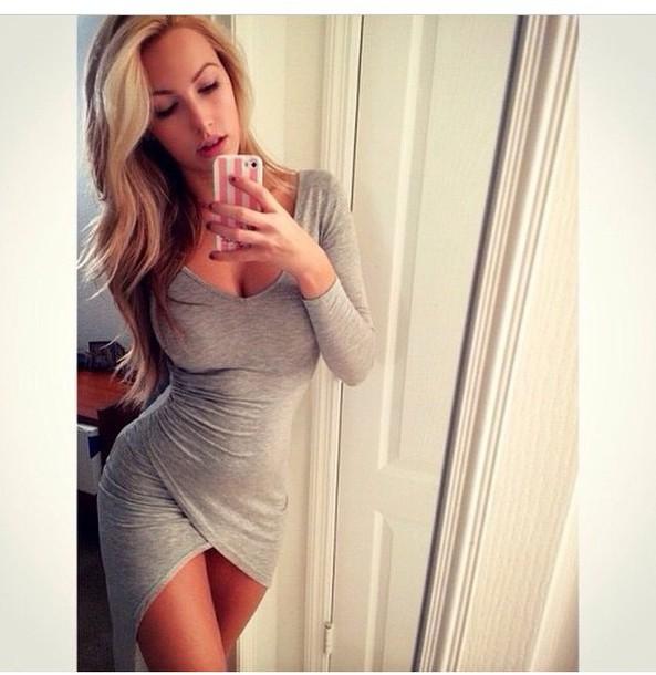 dress grey dress cotton slit dress