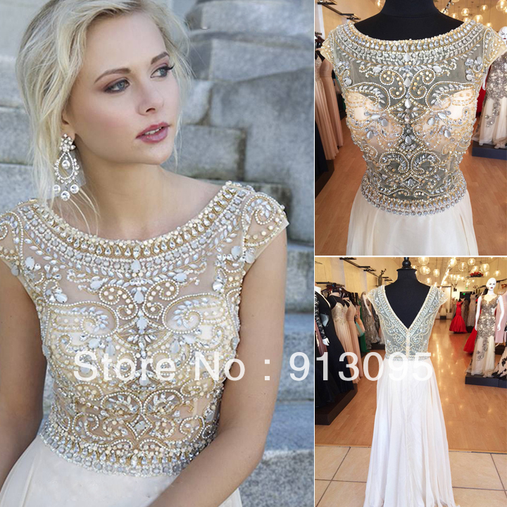 Aliexpress.com : Buy Real sample! Women's Evening Gowns Short Sleeves See Through Crystal Beaded Chiffon A Line Long Prom Dresses 2014 Fast Shipping from Reliable dress ethnic suppliers on Suzhou dreamybridal Co.,LTD