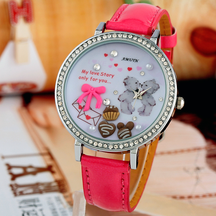 AMUTN Japanese Movement_Handmade Clay Watch Cute Public Notice Lovers Bear Love Letter Chocolate Cake_wholesale&retail-in Wristwatches from Watches on Aliexpress.com