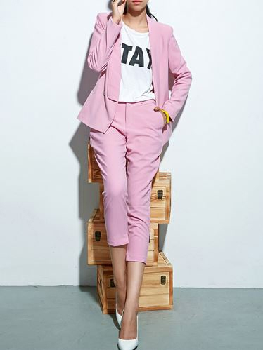 Choies Limited Edition Pink Blazer With Slim Ninth Pants | Choies