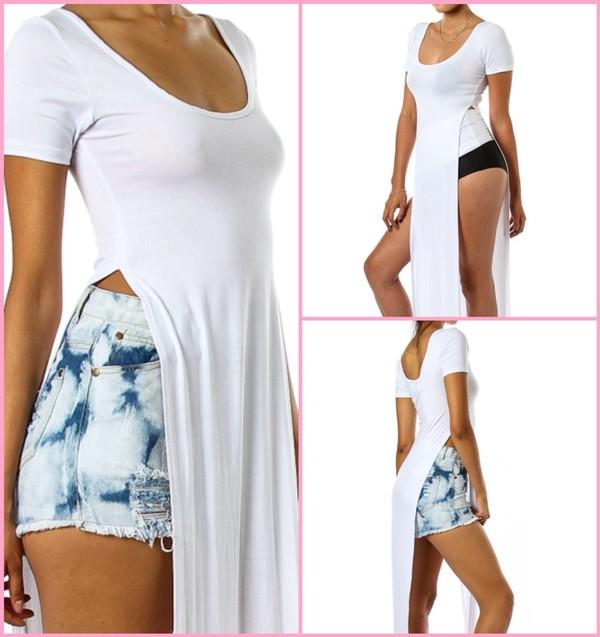 t-shirt shirt tank top clothes stlish style hot summer outfits cute white maxi splits shirt sleeves