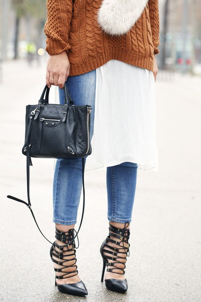 dulceida blogger jeans rust strappy sandals cable knit handbag sweater blouse scarf shoes bag fall colors