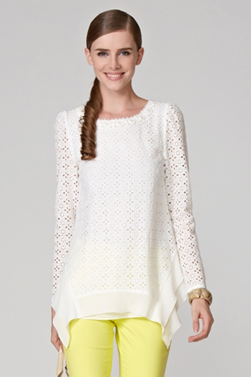 Hollow Out Shirt With Irregular Hem [FDBI00442]- US$ 73.99 - PersunMall.com