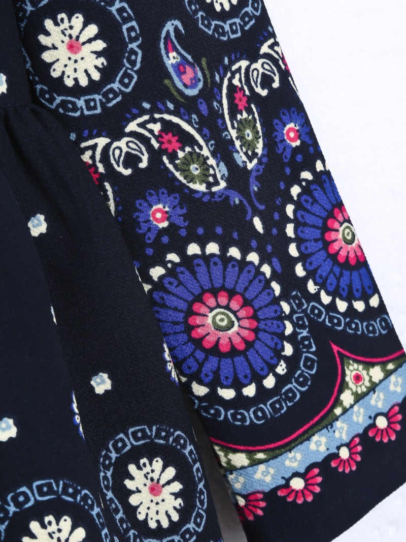 Navy Long Sleeve Vintage Floral Pleated Dress - Sheinside.com