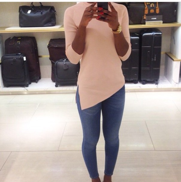 nude asymmetrical knitted sweater turtleneck
