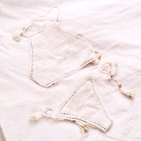 swimwear knitwear bikini top bikini bottoms crochet bikini white bikini halter bikini
