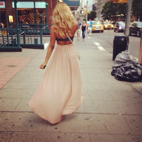 skirt maxi skirt pink high heels vintage bralette brandy melville the carrie diaries carrie bradshaw hipster new york city new york city
