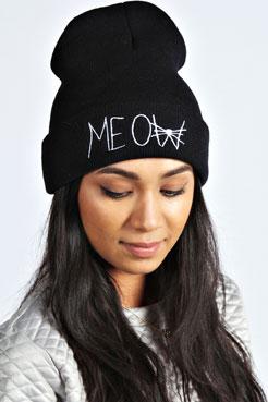 Jessica Meow Embroidered Beanie at boohoo.com