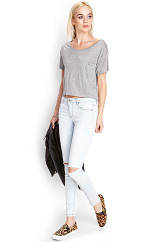 Ripped Denim Skinny Jeans | FOREVER 21 - 2000104365