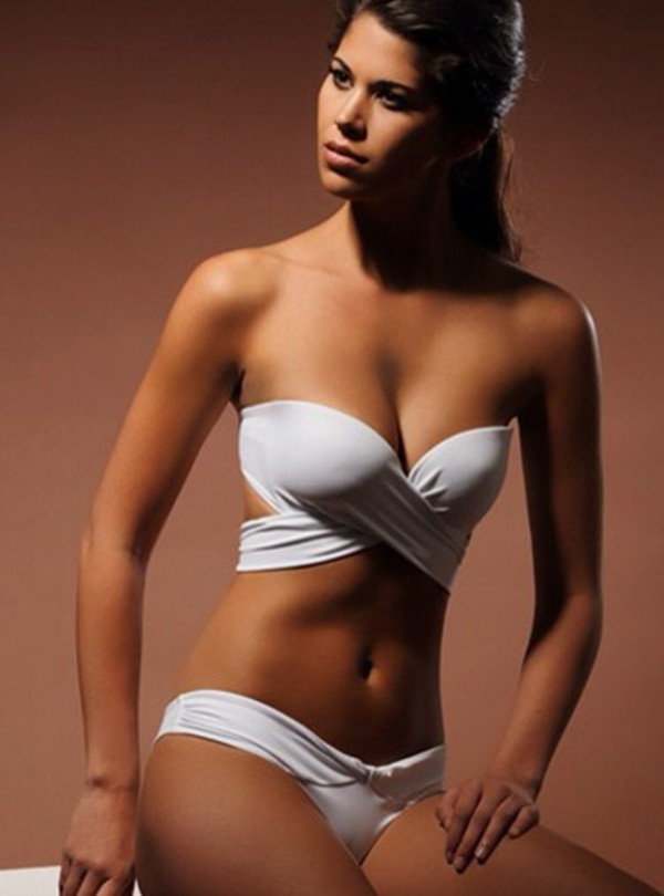 swimwear white hot bandeau bikini