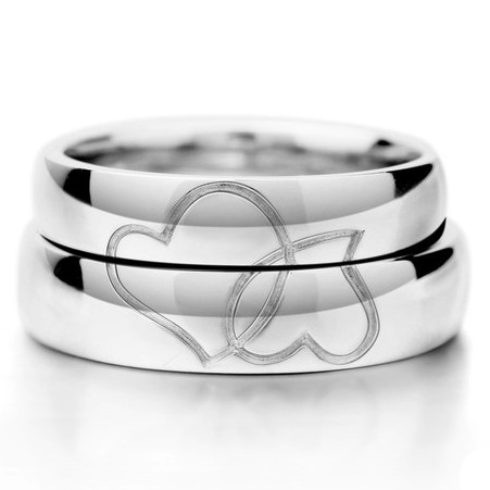 Matching His and Her Hearts Wedding Bands for Two Personalized Couples Gifts   His Her Necklaces and Bracelets   Engraved Wedding Rings   Couples Clothing