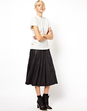ASOS | ASOS WHITE Midi Skirt In Pleated Leather at ASOS