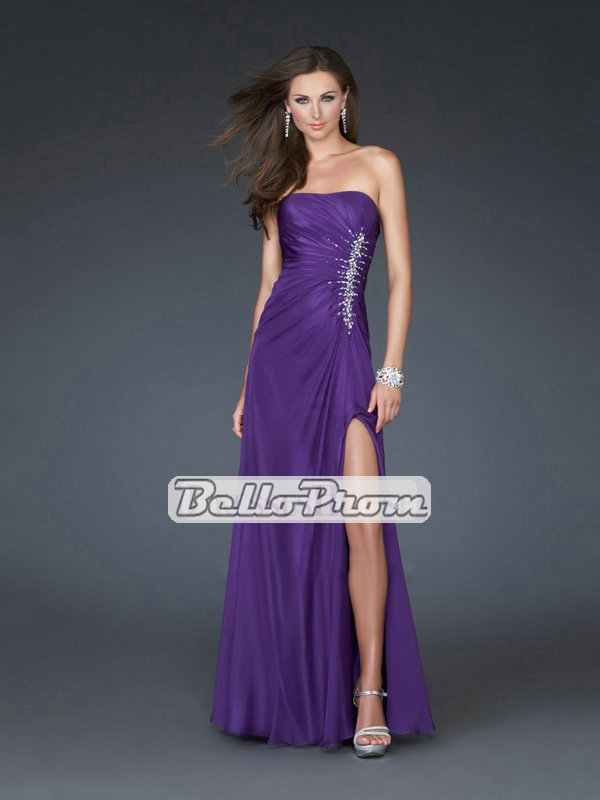 Strapless Straight Neckline Chiffon with Beadings Floor Length Chiffon Prom Dress PD34446 - belloprom.com