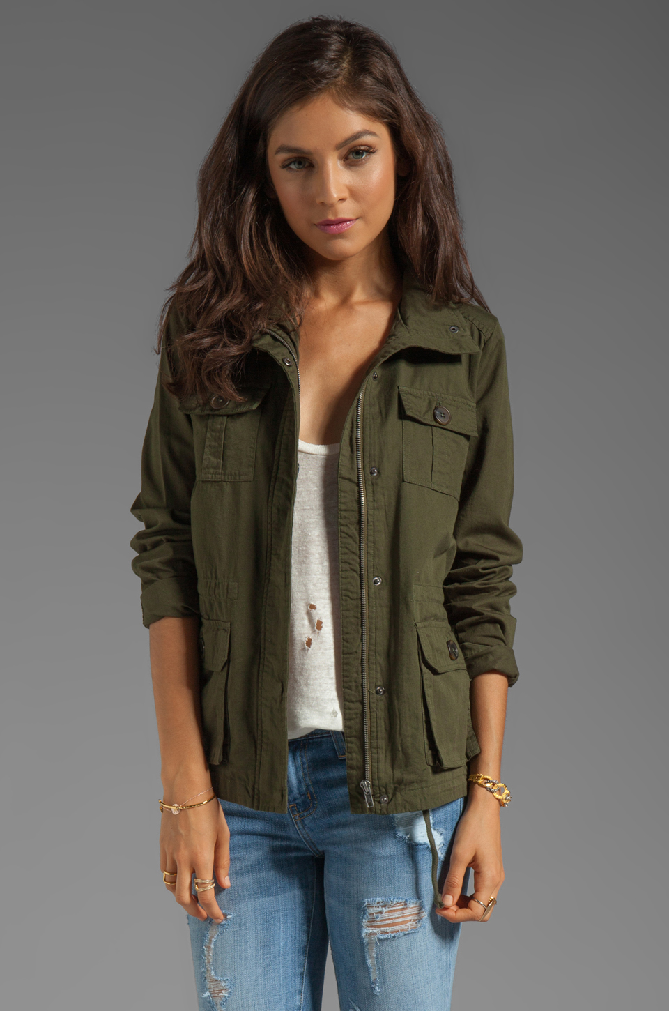 BB Dakota Leslie Cotton Twill Army Jacket in Army Green | REVOLVE