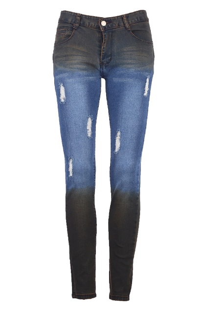 ROMWE | Distressed Dip Dye Jeans, The Latest Street Fashion